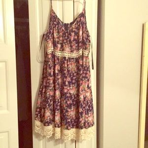 Navy pink and green flowered dress